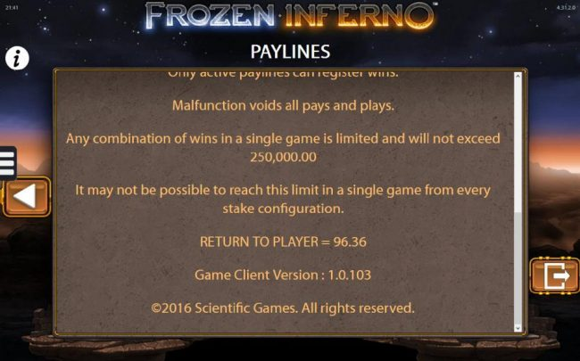 Frozen Inferno :: General Game Rules - The theoretical Return-To-Player (RTP) is 96.36%.