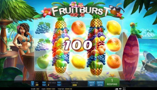Play slots at Surf Casino: Surf Casino featuring the Video Slots Fruit Burst with a maximum payout of $250,000