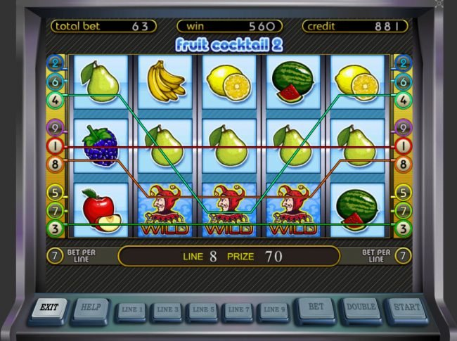 Fruit Cocktail 2 :: Multiple winning paylines