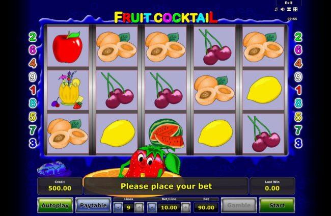 My Bet featuring the Video Slots Fruit Cocktail with a maximum payout of $50,000