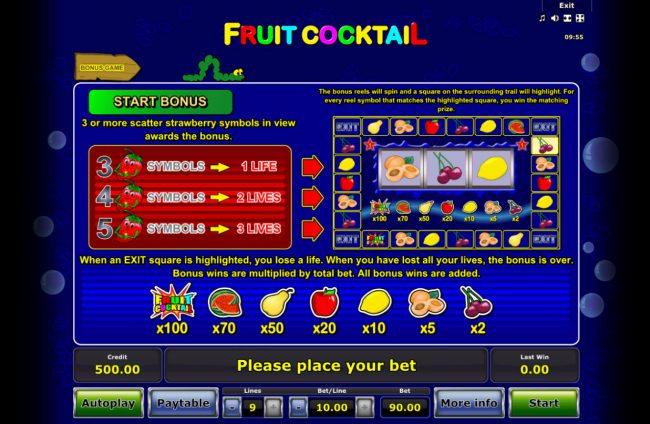 Fruit Cocktail :: Bonus Game Rules