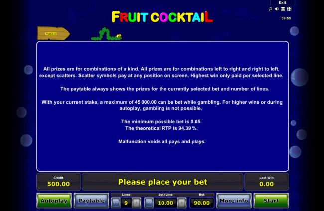 AC Casino featuring the Video Slots Fruit Cocktail with a maximum payout of $50,000