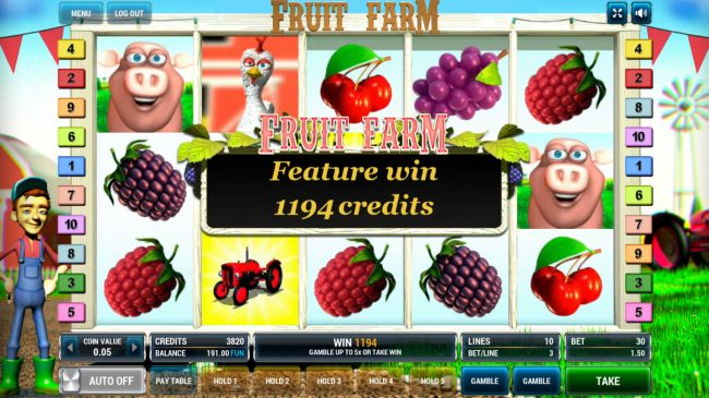 Company featuring the Video Slots Fruit Farm with a maximum payout of $90,000