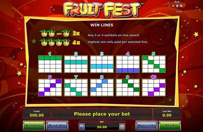 Play slots at Energy: Energy featuring the Video Slots Fruit Fest with a maximum payout of $25,000