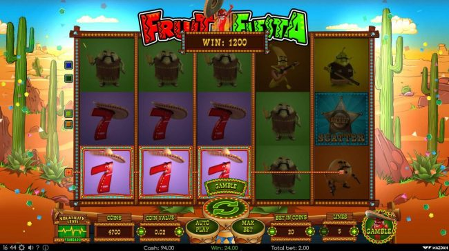 Go Wild featuring the Video Slots Fruit Fiesta with a maximum payout of $200,000