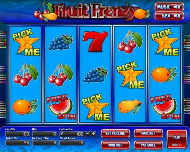 Elegant VIP featuring the Video Slots Fruit Frenzy with a maximum payout of $7,500