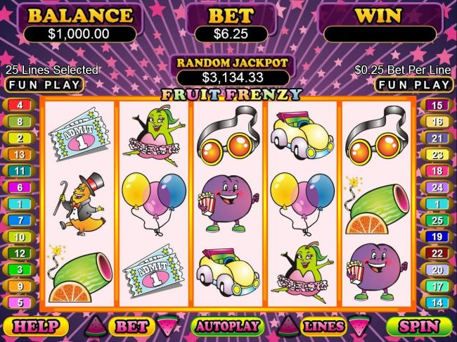Fruit Frenzy :: A fruit themed main game board featuring five reels and 25 paylines with a $50,000 max payout