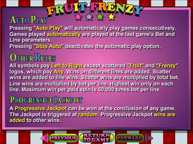 Fruit Frenzy :: Progressive Jackpot Rules and General Game Rules