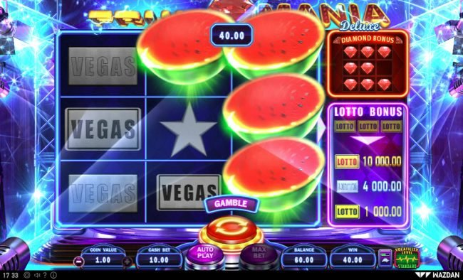 Go Wild featuring the Video Slots Fruit Mania Deluxe with a maximum payout of $50,000