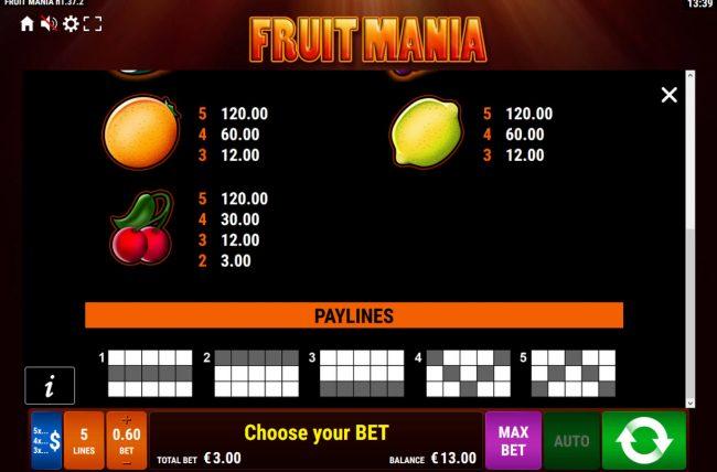 Fruit Mania :: Low Value Symbols
