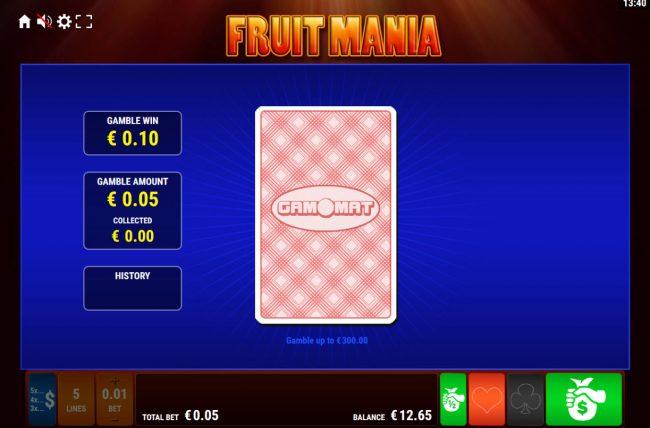 Fruit Mania :: Card Gamble Feature Game Board
