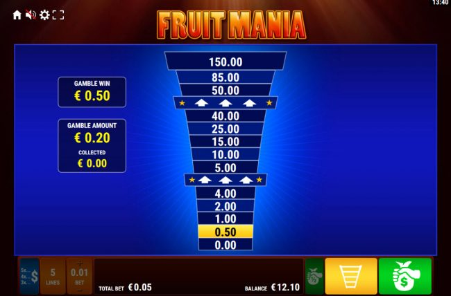 Fruit Mania :: Ladder Gamble Feature Game Board