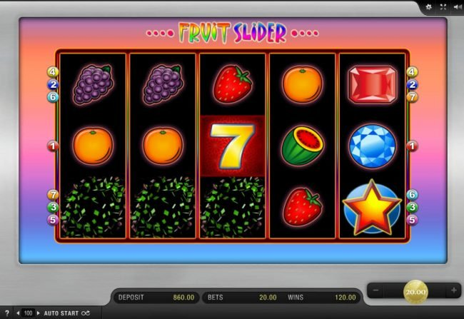 Play slots at Scatters: Scatters featuring the Video Slots Fruit Slider with a maximum payout of $8,000