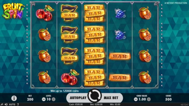 Mr Play featuring the Video Slots Fruit Spin with a maximum payout of $120,000