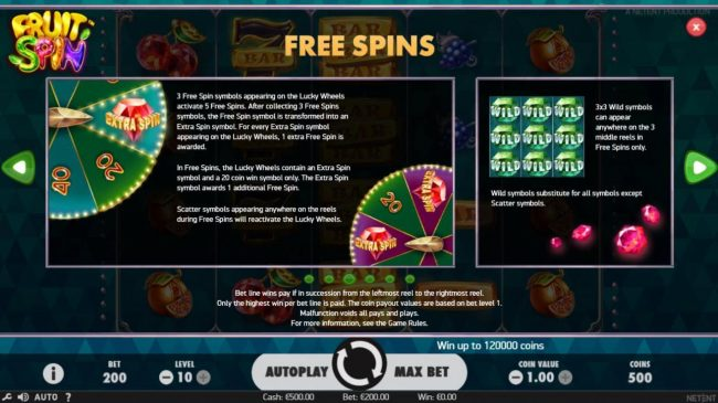 6 Black featuring the Video Slots Fruit Spin with a maximum payout of $120,000
