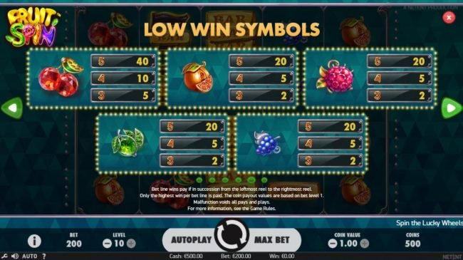 Casino Red Kings featuring the Video Slots Fruit Spin with a maximum payout of $120,000
