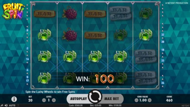 AC Casino featuring the Video Slots Fruit Spin with a maximum payout of $120,000