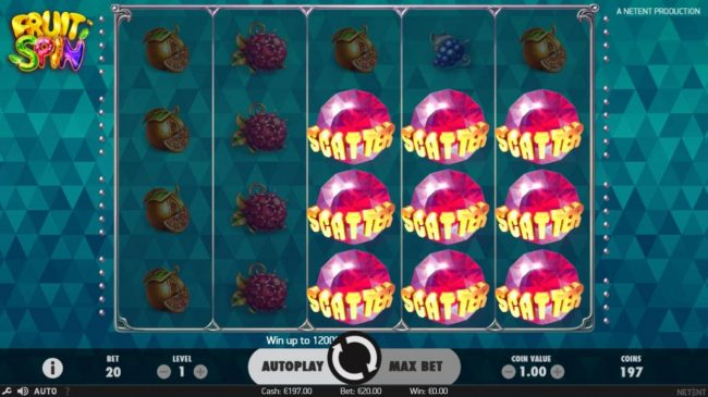 CasinoCasino featuring the Video Slots Fruit Spin with a maximum payout of $120,000