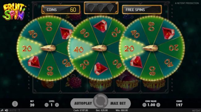 Zinger Spins featuring the Video Slots Fruit Spin with a maximum payout of $120,000