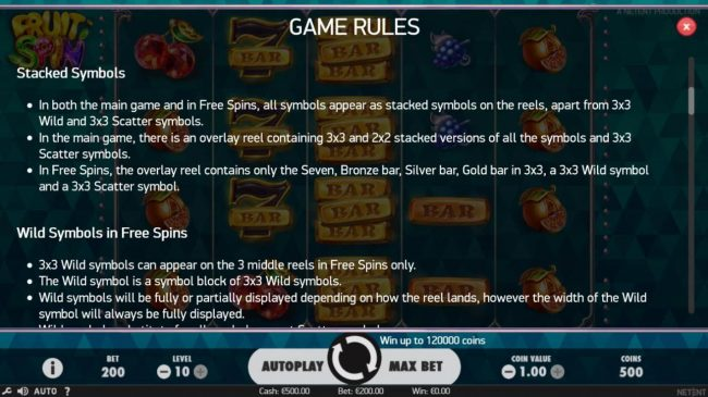 Come On featuring the Video Slots Fruit Spin with a maximum payout of $120,000