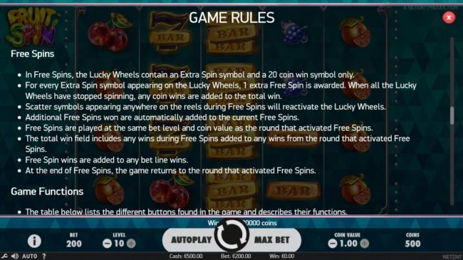 Casino Moons featuring the Video Slots Fruit Spin with a maximum payout of $120,000