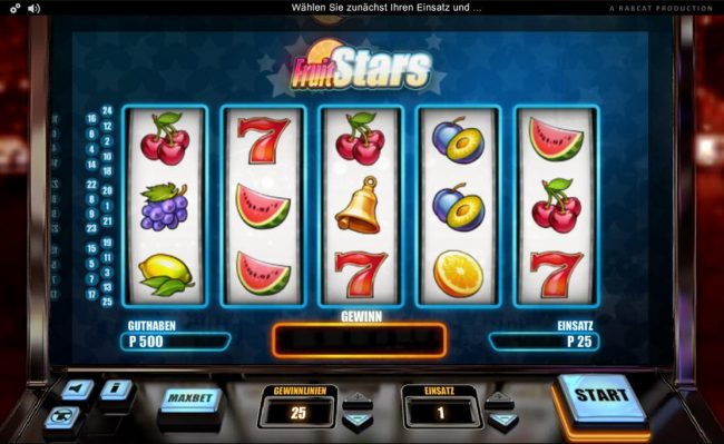 Slotty Vegas featuring the Video Slots Fruit Stars with a maximum payout of $2,500