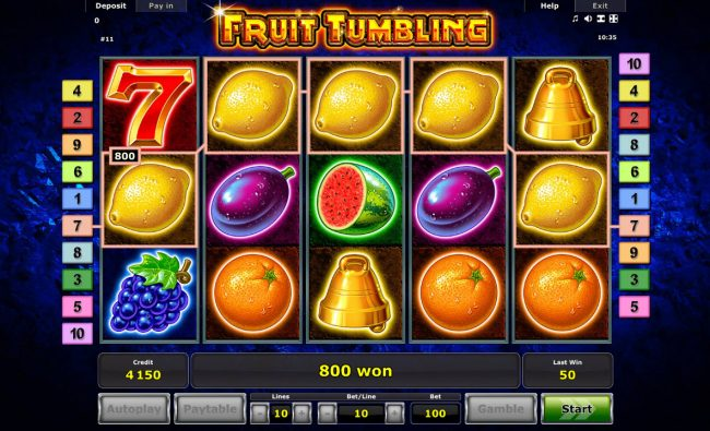 Winner Million featuring the Video Slots Fruit Tumbling with a maximum payout of $40,000,000