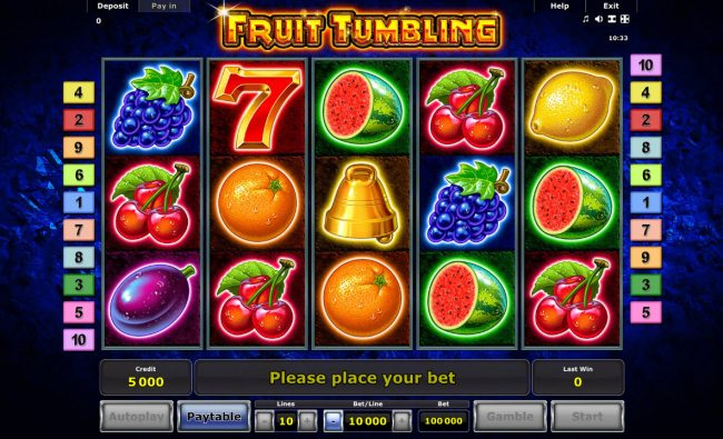 Money Storm featuring the Video Slots Fruit Tumbling with a maximum payout of $40,000,000