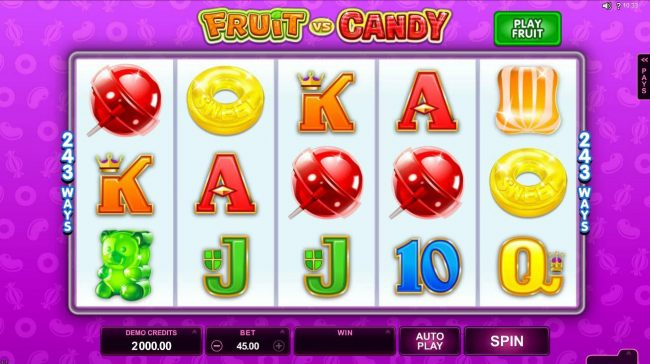 Play slots at Crystal: Crystal featuring the Video Slots Fruit vs Candy with a maximum payout of $97,000