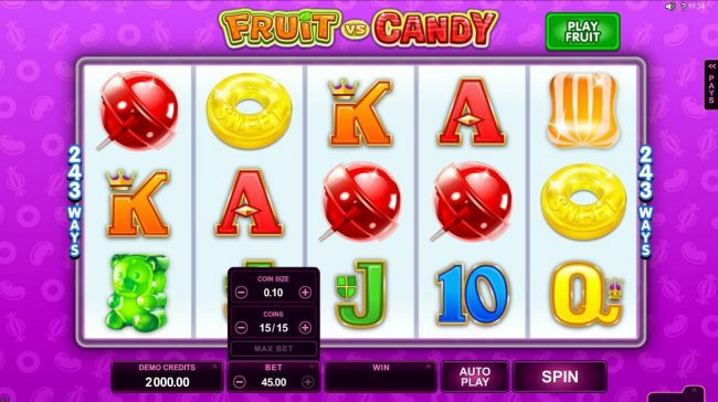 Piggs featuring the Video Slots Fruit vs Candy with a maximum payout of $97,000