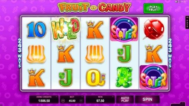 Blackjack Ballroom featuring the Video Slots Fruit vs Candy with a maximum payout of $97,000