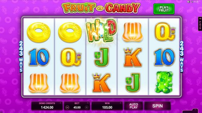 Slots Magic featuring the Video Slots Fruit vs Candy with a maximum payout of $97,000