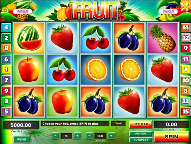 Fruit :: Main game board featuring five reels and 15 paylines with a $1,250,000 max payout