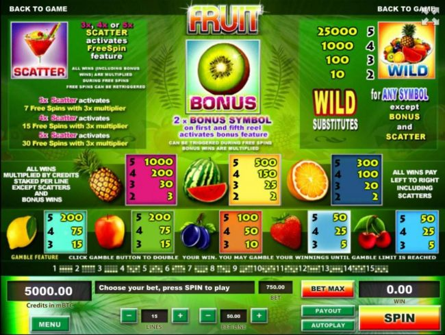 Fruit :: Slot game symbols paytable featuring fruit themed icons.