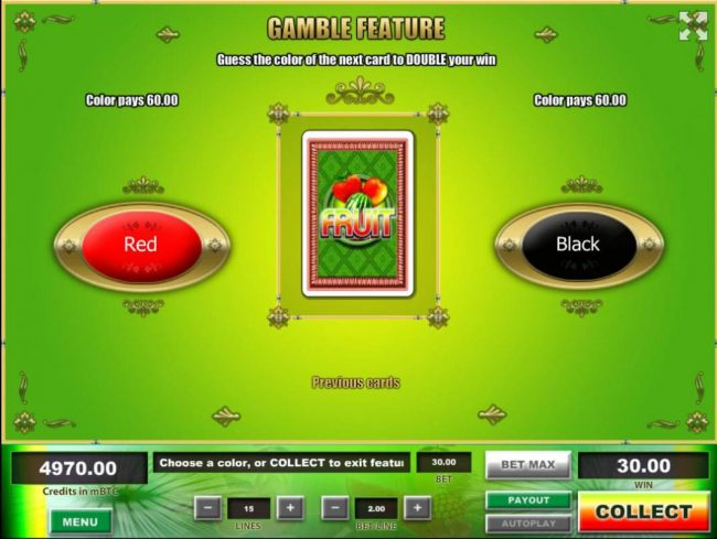 Fruit :: Gamble Feature - To gamble any win press Gamble then select Red or Black.