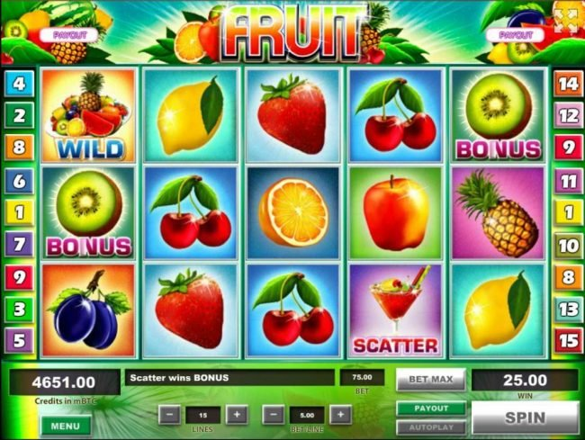 Fruit :: Bonus feature triggered when you land a kiwi bonus symbol on reels 1 and 5.