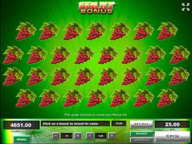 Fruit :: Fruit Bouns Game Board - Select bunches of grapes to reveal your bonus win.