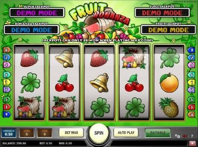 Casino Cruise featuring the Video Slots Fruit Bonanza with a maximum payout of Jackpot