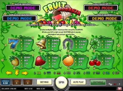 Casiplay featuring the Video Slots Fruit Bonanza with a maximum payout of Jackpot
