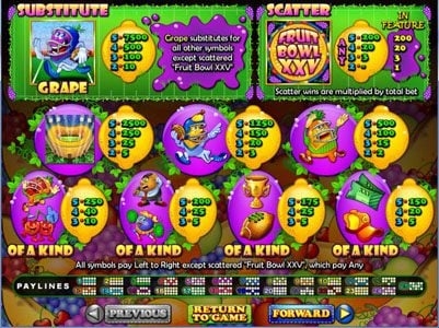 Cool Cat featuring the Video Slots Fruit Bowl XXV with a maximum payout of $250,000