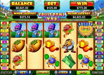 Plenty Jackpots featuring the Video Slots Fruit Bowl XXV with a maximum payout of $250,000