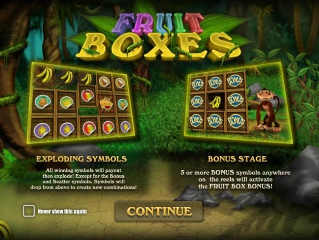 Mongoose Casino featuring the Video Slots Fruit Boxes with a maximum payout of $75,000