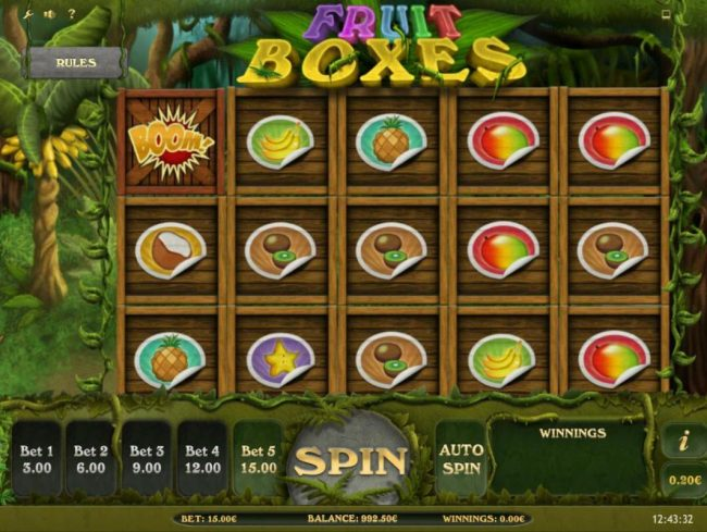 Fruit Boxes :: Main game board featuring five reels and 15 paylines with a $75,000 max payout