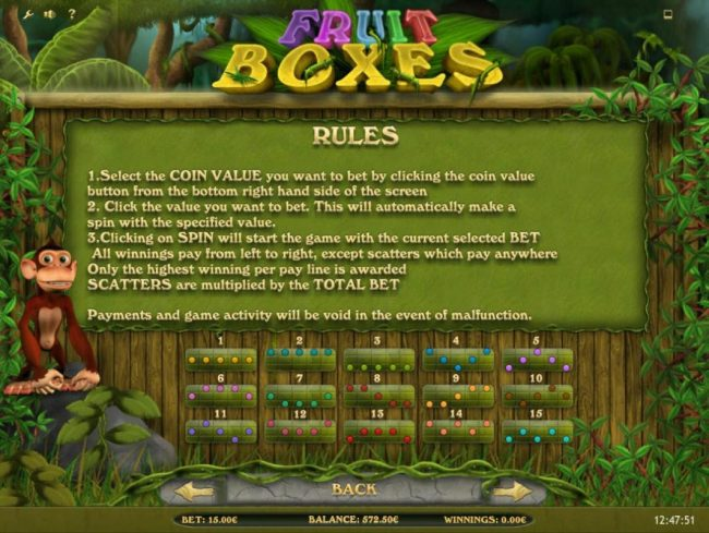 Fruit Boxes :: General Game Rules and Payline Diagrams 1-15