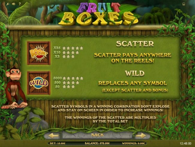 Fruit Boxes :: scatter and wild symbols paytable.