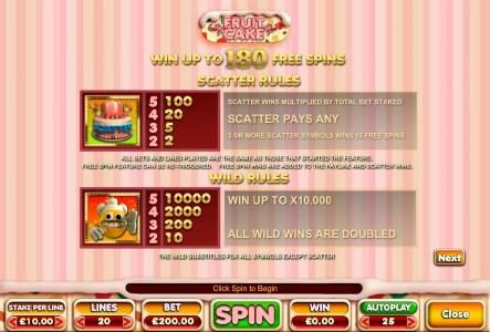 Vegas Baby featuring the Video Slots Fruit Cake with a maximum payout of $100,000