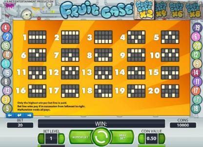 Casinia featuring the Video Slots Fruit Case with a maximum payout of $10,000