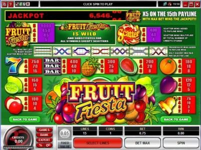 Royal Panda featuring the Video Slots Fruit Fiesta 5 Reel with a maximum payout of Jackpot