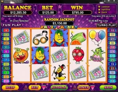 Play slots at iNET Bet: iNET Bet featuring the Video Slots Fruit Frenzy with a maximum payout of $250,000
