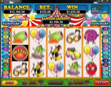 Pure Vegas featuring the Video Slots Fruit Frenzy with a maximum payout of $250,000